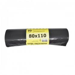 Σακούλα απορριμάτων μαύρο χρώμα 80Χ110 ενισχυμένη ρολό 10 τεμαχίων